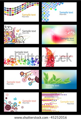 Set of different colorful business cards on white background - stock vector