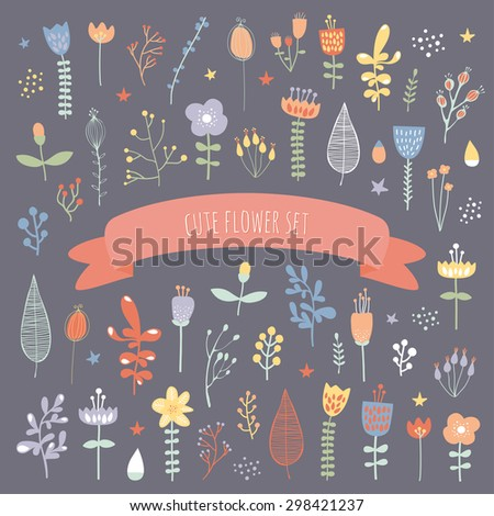 Set of different colorful plants and flowers. Cute objects on dark background. Floral collection. Templates for patterns and design. Tulips and herbs.