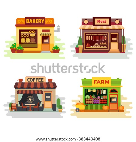 Set of different colorful shops: bakery, meat shop, coffee shop, farm products, fruit and vegetables. Flat vector illustration stock set. Infographic elements. Shops on the street - stock vector