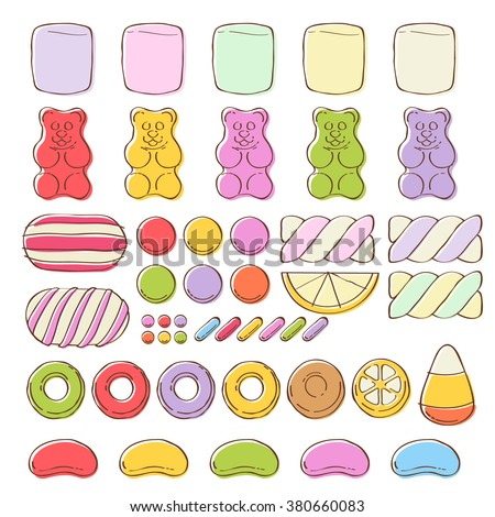 set of different colorful sweets on white background marshmallow gummy bears hard candies dragee jelly
