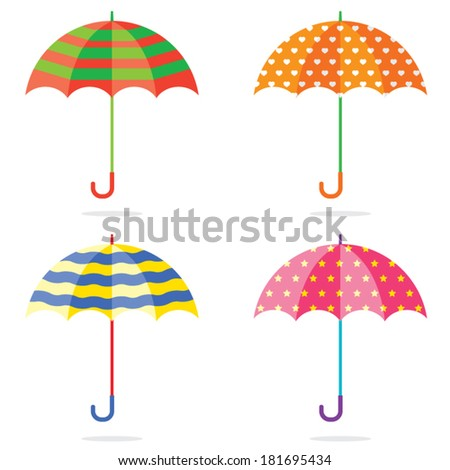 Set Of Different Colorful Umbrellas - stock vector