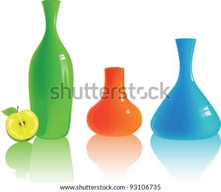 Set of different colorful vases