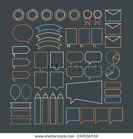 Set of different colorful vector elements. Speech bubbles and ribbons. Orange, pink, blue, green and white elements on dark background. Outline logos. Templates for web. Graphic design.