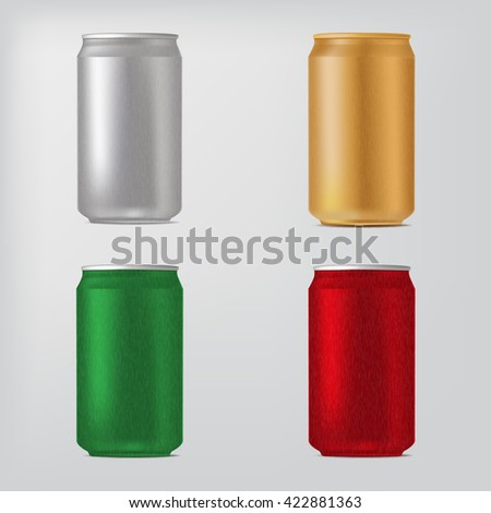 Set of different colors cans, isolated on white. Vector realistic illustration