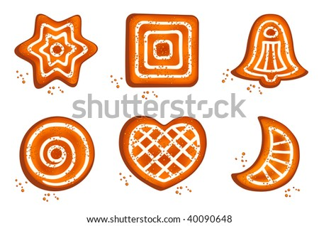 Set of different cookie on isolated white background, all parts closed, editing is possible - stock vector