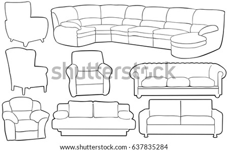 Different Couches set different couches chairs stock vector 637835284 - shutterstock
