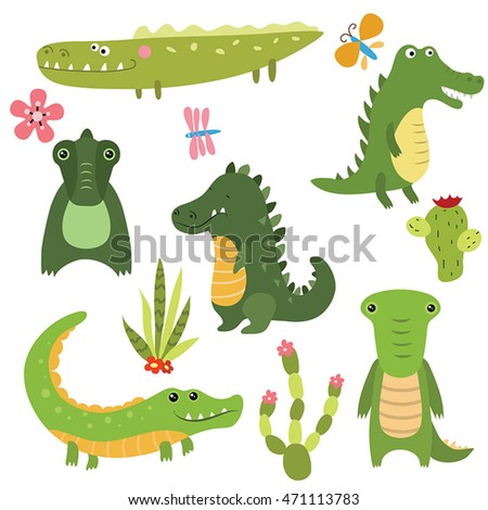 Set of different crocodiles on white background.