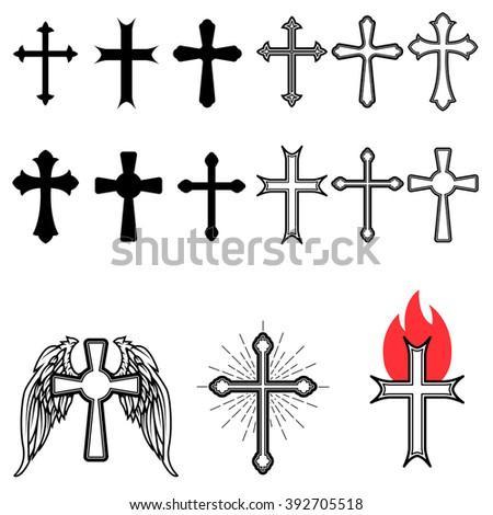 Set of different crosses. Cross with sun rays. Cross with fire. Winged cross. Church emblem templates. Design element in vector. - stock vector