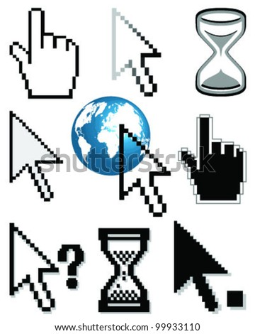 Set of different cursors-vector