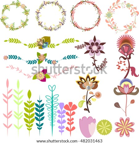 Set of different design elements, vector brushes leafy frames decorative wreaths