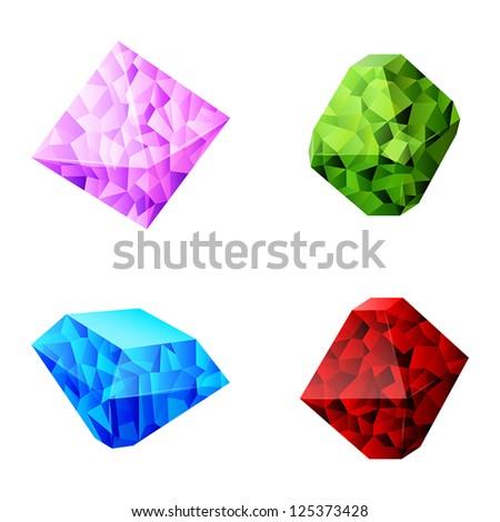 set of different diamonds - stock vector