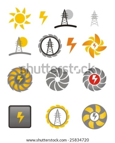 set of different electricity icons - stock vector