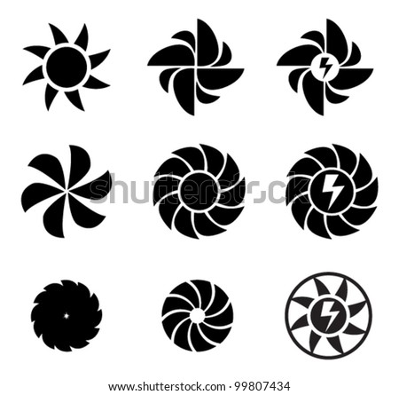 set of different electricity icons, black isolated on white - stock vector