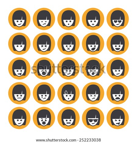 Set of different emoticons vector, white and yellow woman faces. Emoji icons representing lots of reactions, personalities and emotions  - stock vector