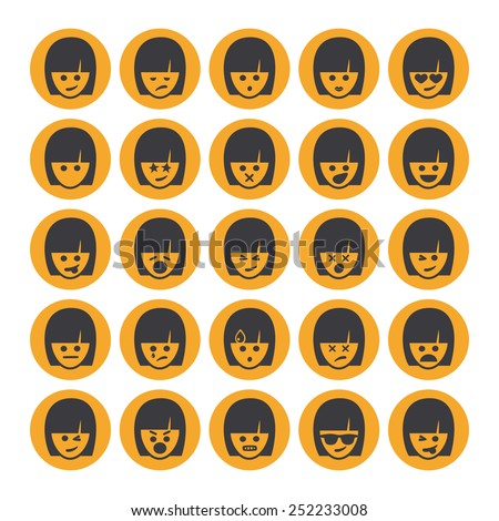 Set of different emoticons vector, yellow woman faces. Emoji icons representing lots of reactions, personalities and emotions   - stock vector