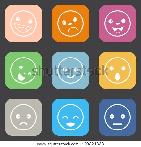 Set of different emotions icons,Flat style icons - stock vector