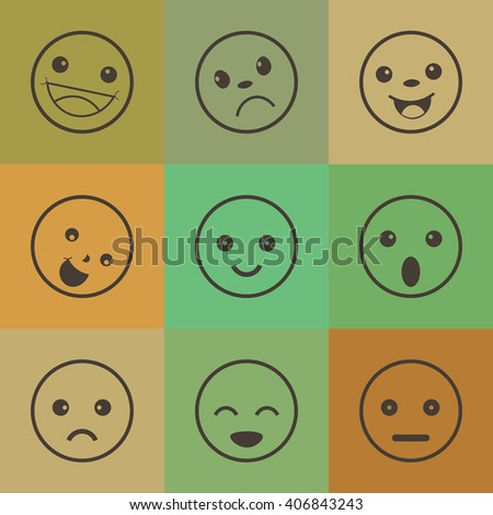 Set of different emotions icons,retro style icons