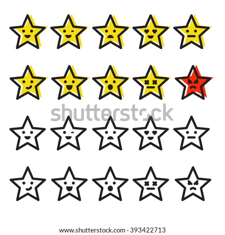 Set of different Emotions of star. Set of Emoji. Isolated vector colors outline flat icon vector on white background