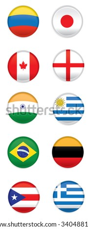 Set of different flags on round badges on a white background