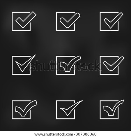 Set of different flat vector check marks or ticks in boxes - stock vector
