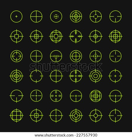 Set of different flat vector cross hair sign icons. Line simple symbols. Target aim symbol. Circles and rounded squares buttons. - stock vector