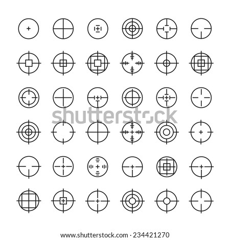 Set of different flat vector crosshair sign icons. Line simple symbols. Target aim symbol. Circles and rounded squares buttons. - stock vector
