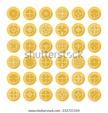 Set of different flat vector crosshair sign icons with long shadow. Line simple symbols. Target aim symbol. Circles and rounded squares buttons. - stock vector