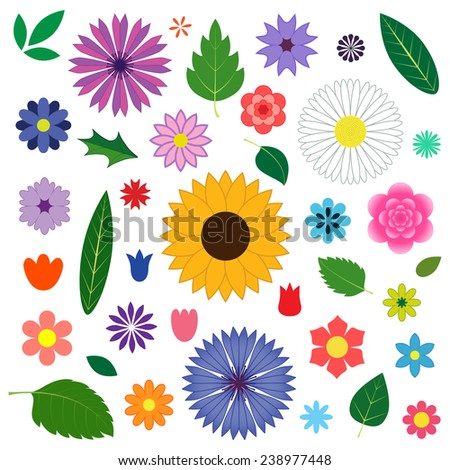 Set of different  flowers and leaves. Floral elements for you design. Vector illustration. - stock vector