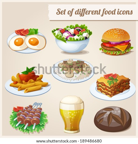 Set of different food icons.   - stock vector