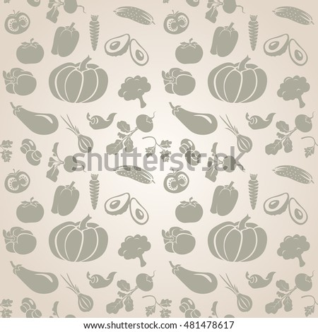 Set of different fresh vegetables seamless. Vintage drawing.