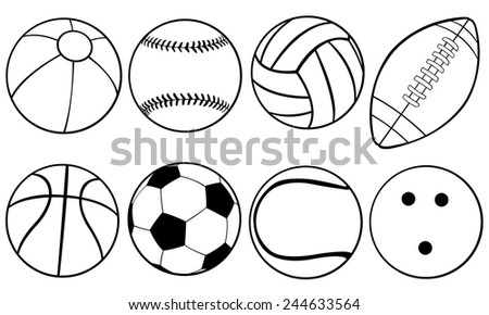 set of different game balls - stock vector