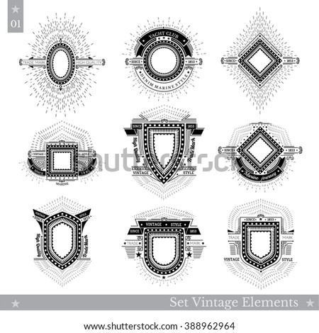 Set of different geometric shields with light ray. Hipster style templates for business signs, labels, logos, identity, badges, apparel, shirts, stickers and other branding objects. - stock vector