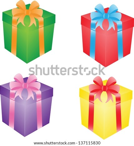 Set of different gift boxes with ribbons - stock vector
