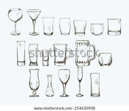 Steel Glass Set Set of Different Glass Hand