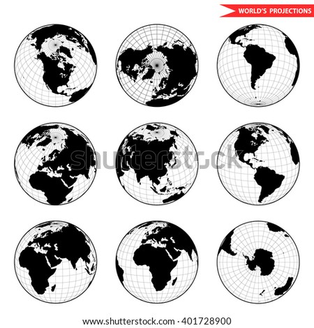 Set of different globe hemishpere. World view from space icon. - stock vector