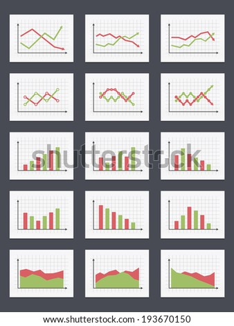 Set of different graphs and charts, green and red colors, vector eps10 illustration - stock vector