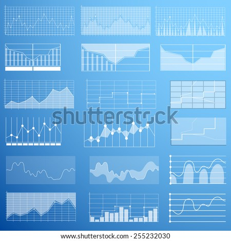 Set of different graphs and charts, vector - stock vector