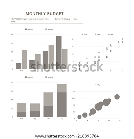 Set of different graphs and charts, vector eps10 illustration - stock vector
