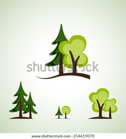 Set of different green trees vector illustration - stock vector