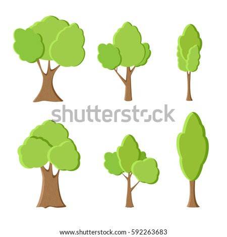 set of different green trees. vector illustration