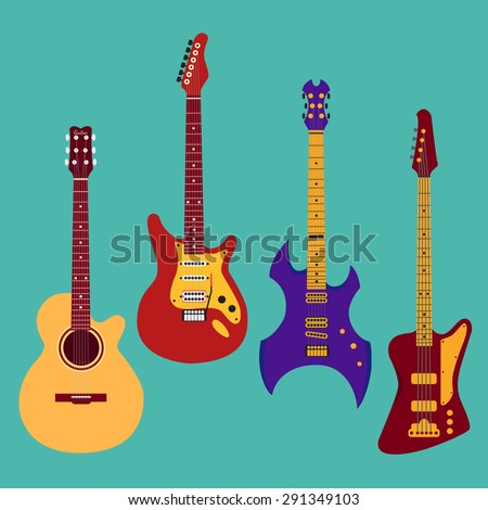 Set of different guitars. Acoustic classical guitar, electric, heavy metal guitar, bass guitar. String musical instrument collection. Vector illustration in flat style. For your design and business.