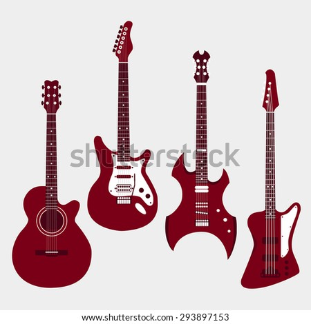 Set of different guitars. Acoustic guitar, electric guitar, heavy metal guitar, bass guitar. Vector illustration in flat style design.