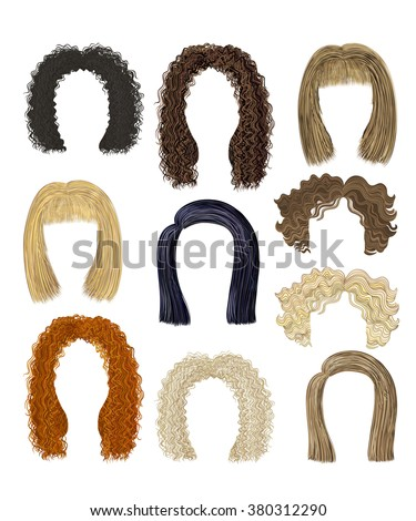 set of different hairstyles. hairs - stock vector