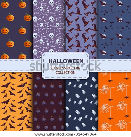 Set of different halloween vector seamless patterns. Endless texture can be used for wallpaper, pattern fills, web page,background,surface. EPS 10 - stock vector