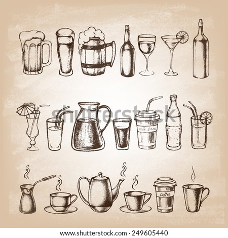 Set of different hand drawn beverages. Vector illustration. - stock vector