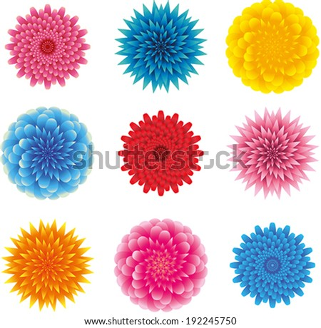 set of different heads of flowers, top view, fluffy, lots of leaves, pointed and rounded petals, pink, blue, yellow and red on a white background - stock vector