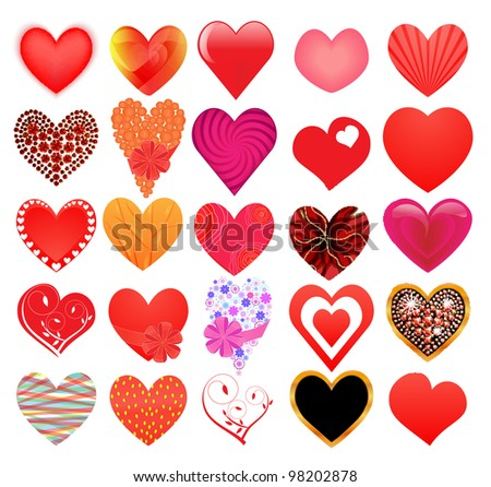 Set of different hearts - stock vector