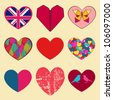 Set of different hearts: british flag, origami, scratched, simple, colorful and others. - stock vector
