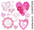 Set of different hearts, labels and frames hand drawn, sketchy vector illustration; isolated on background. - stock vector