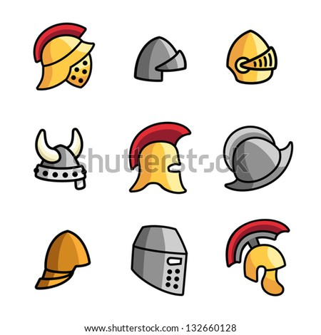 Set of different helmets isolated on white. - stock vector